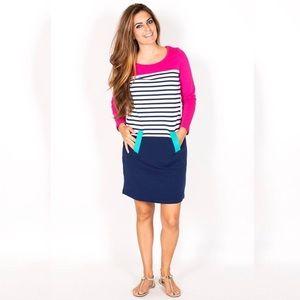 TN pink stripe sweater Belle dress